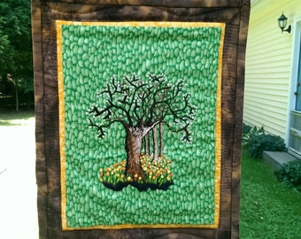 Embroidered Tree Wall Hanging, Spring Flowers, Blooming Tree, Hand Embroidered with Quilted Border, Quilted Wall Hanging
