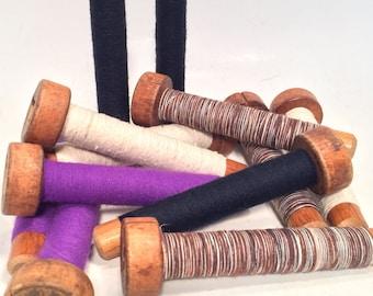 Wood Thread Textile Bobbins, Spools, Spindles, Quills Vintage Primitive Wooden Lot of 12 Assorted Colors (F2)