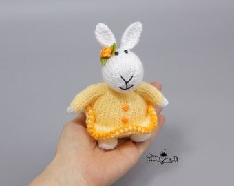 White rabbit Plush bunny rabbit Bridesmaid gift for girl Stuffed bunny Little plush toy hare Girlfriend gift Stuffed animal Hand knit bunny
