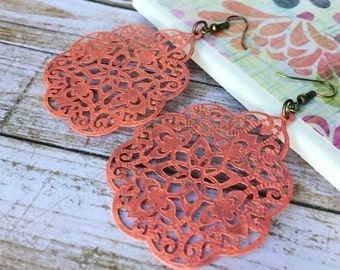 Handpainted - Coral - Large Lace Filigree Earrings - Boho Earrings - Big Earrings - Lace Earrings - Bohemian Style