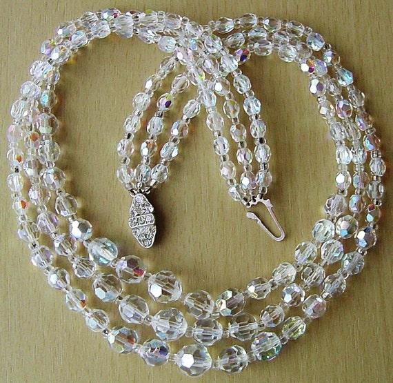 Vintage 1950s 3 strand   aurora borealis crystal necklace