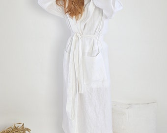 Women's Linen bathrobe - Long robe with hood - Sizes XS-2XL - Long linen gown - White linen bathrobe - Linen loungewear - High-quality linen