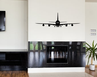 airbus 380 modern airplane decal, living room wall, decal vinyl, decal sticker, A380 wall decal, mancave décor, aviation decal