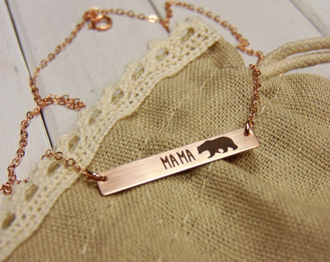Rose Gold Mama Bear Horizontal Bar Necklace - Sterling Silver, Gold or Rose Gold -Perfect For Layering  Jewelry for Mom Necklace for Mom