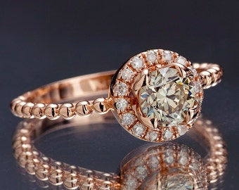 Champagne Diamond Engagement Ring in Solid Rose Gold