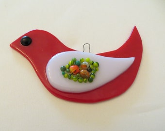 Handmade Fused Glass Red Bird Ornament