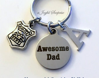 SALE Police Dad Keychain, Officer Shield Key Chain Gift for Father's Day Policeman Man Men Emblem Dad Keyring Awesome Dad Initial Letter