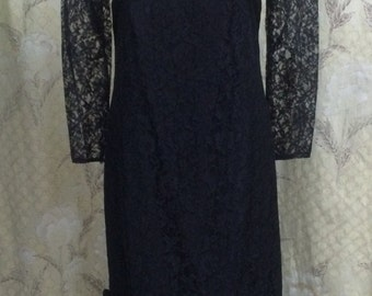 Black Evening Gown, Vintage 1980s Black Lace Evening Gown