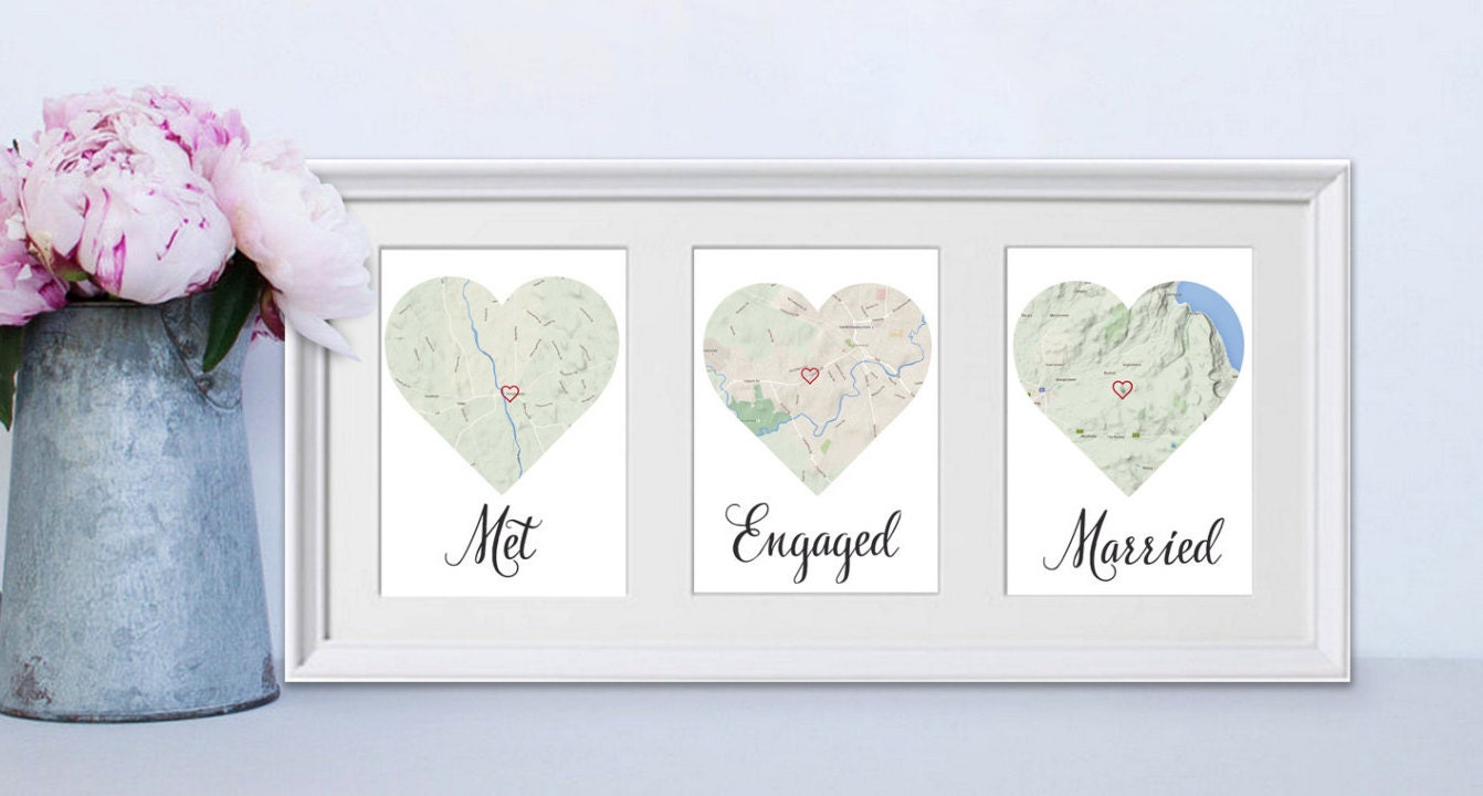 Met Engaged Married Personalised Framed Map Love Story