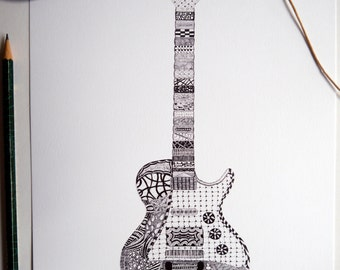 Won't Get Drawn Again - Guitar Doodle Illustration A4 Print