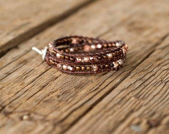 Warm rosy brown double wrap bracelet