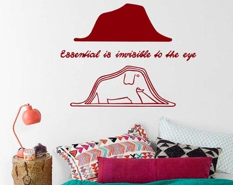 Vinyl Decal Little Prince Quote essential is invisible to the eye Elephant Hat drawing Bedroom Nursery Living Room Home Décor Murals MS99