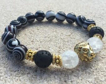 Men's Beaded Bracelet, Gold Plated Lion Head Bracelet, Black Eye Dot Glass Bead Bracelet, 10mm Beaded Bracelet, Handmade Beaded Bracelet