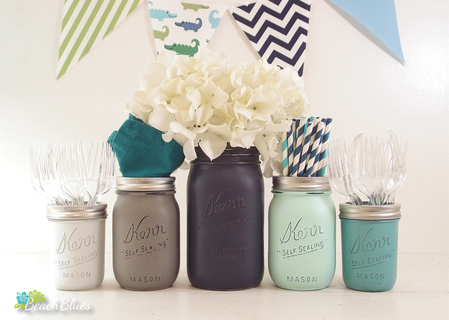 boy baby shower centerpiece painted mason jar by beachbluesbaby