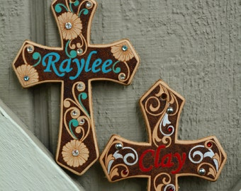 Handmade, Custom Name Leather Cross