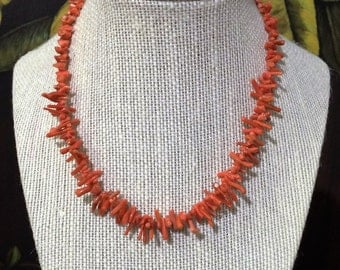 Natural Red Branch Coral Necklace.