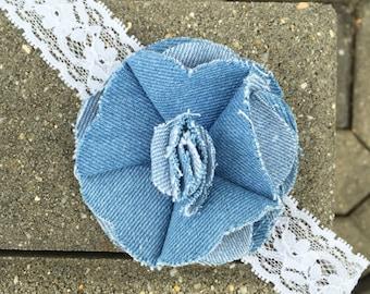Denim Jean Lace Headband