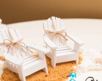 Beach Wedding Cake Topper,Mini Adirondack Chair Set,Beach Wedding,Nautical Wedding,Beach Theme,Bridal Shower Topper,Beach Chairs Cake Topper