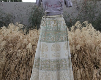 vintage neutral indian cotton wrap skirt
