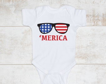 """Infant's 4th of July Onesie """"Merica"""" for Independence Day!"""