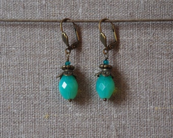 Turquoise Blue olive earrings