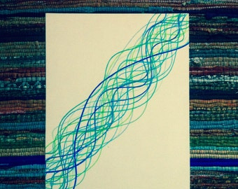 Unique Customised Blue & Green Ink Lines Canvas Wall Art Iris Eye