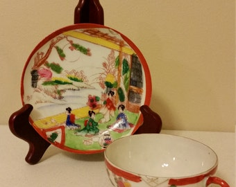 antique japanese bone china tea cup & saucer set geisha girls - japan woman pictorial vintage famille scene - hand painted