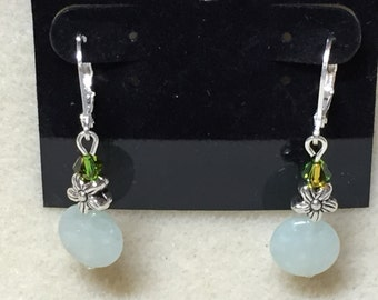Light green aventurine and flower with Swarovski crystal earrings