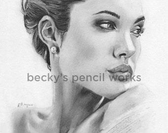 Angelina Jolie Pencil Sketch Print