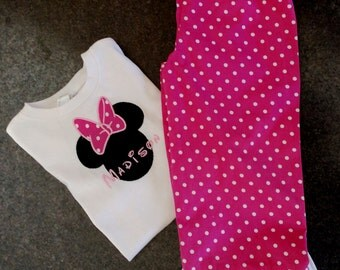 Minnie Mouse Applique Shirt with Ruffle Pants