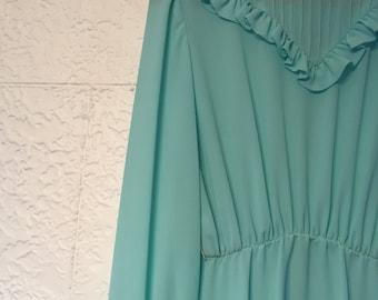 Vintage Teal 70's Dress