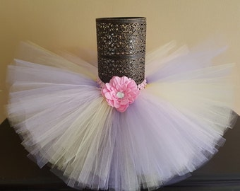 Tulle tutu skirt, pink-lavender-yellow, infant tutu, baby girl tutu, toddler tutu