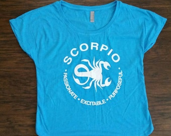 SCORPIO - What's Your Sign?  in 2 Colors: Loose-Fit Black or Vintage Turquoise