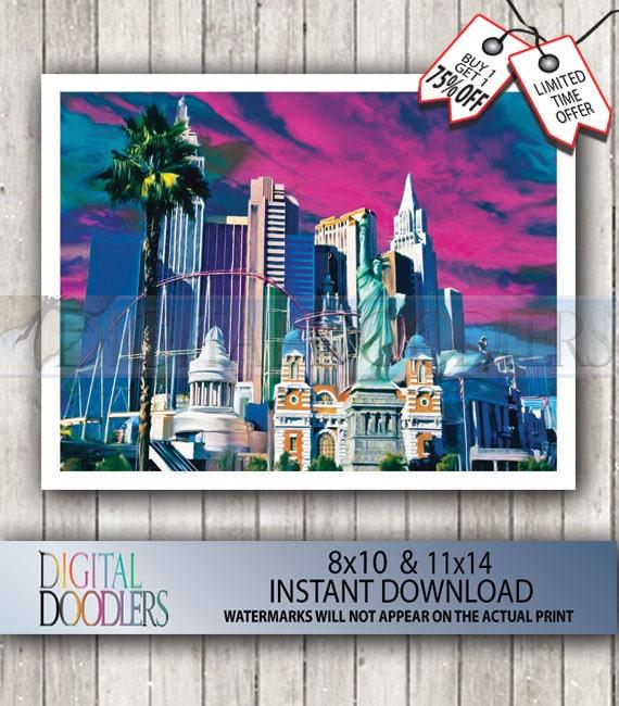 Las Vegas Strip Poster Print Wall Decor Bedroom by