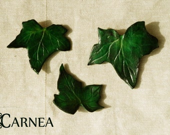 Hair clips leather - Ivy leaves - set of 3