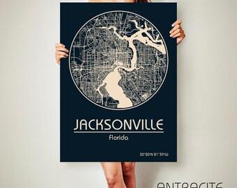 JACKSONVILLE Florida CANVAS Map Jacksonville Florida Poster City Map Jacksonville Florida Art Print Jacksonville Florida poster Jacksonville