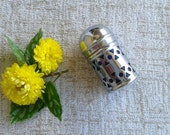Salt shaker:Miniature vintage Apex EPNS Cobalt Blue silver plated Glass Salt Shaker, glass insert