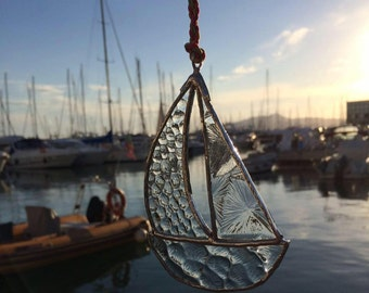 Stained Glass Sailboat Suncatcher