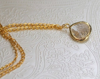 Crystal glass necklace, wedding necklace, wedding jewellery, bridal necklace, gold necklace, necklace, bridesmaids necklace, Acel necklace.