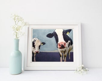 Cow painting Giclee print Original animal painting Modern farmhouse Home décor Wall art Wall décor Wall hanging