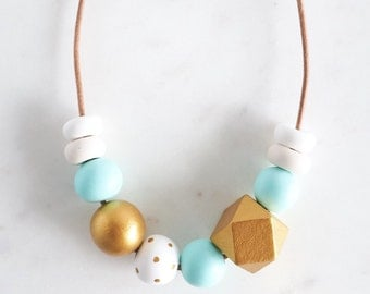 Mint and Gold Geometric polymer clay necklace