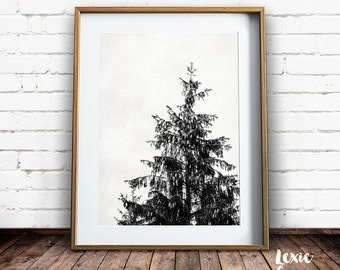 Scandinavian Art, Tree Print, Black and White Print, Tree Photo, Pine Tree, Spruce, Tree Silhouette,Printable Wall Art, Instant Download