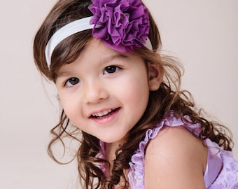 purple headband, deep purple flower, Baby headband, infant headband, girls headband, toddler headband , autumn headband, women's headband