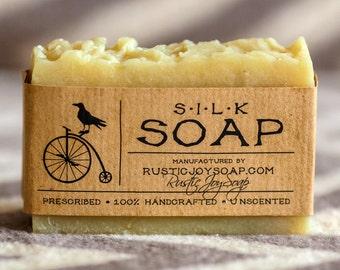 Silk Soap- Rustic Soap, All Natural Soap, Handmade Soap, Silk Soap, Homemade Soap, Unscented Soap.