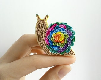 Rainbow Snail brooch, Snail jewelry, Polymer clay Snail, Snail gift, Snail accessories, Colorful summer jewelry