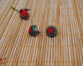 Stud earrings Small embroidered earrings Red rose Floral jewellery Gift for girl Hand embroidery Summer earrings Everyday earrings