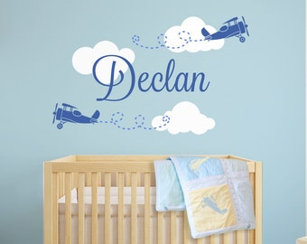 Airplane Wall Decal, Name Wall Decal, Boy Nursery Decals, Nursery Name Decal, Wall Decals for Boys, Custom Name Decals, Boy Nursery Decals