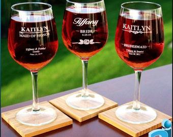 Custom Bridesmaid Wine Glasses, Personalized Bridesmaid Wine Glasses, Bridal Party Glasses, Bridesmaid Glasses,