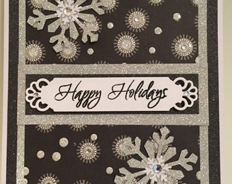 Happy Holidays Card (Black & Silver), Handmade Christmas Card, Silver Snowflake Card