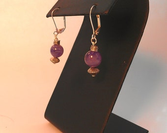 Purple and silver stone bead earrings